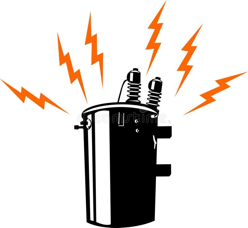 Electric power transformer stock illustration