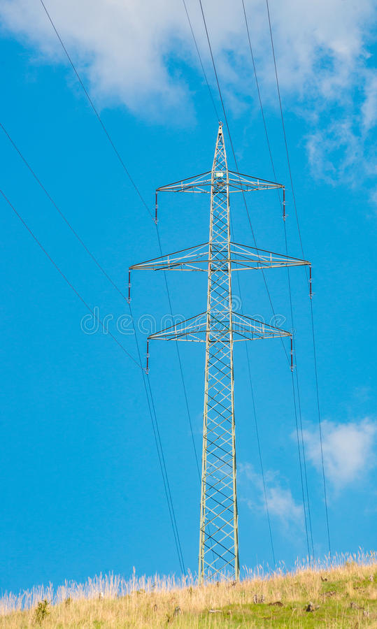 Electric power transmission energy line tower high voltage wire royalty free stock photo
