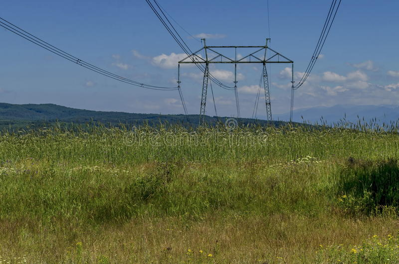 Electric power transmission line. Plana mountain, Bulgaria stock photos