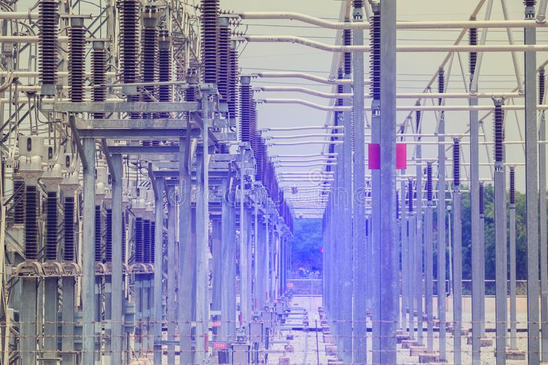 Electric power transmission lines, High voltage power transformer substation stock image