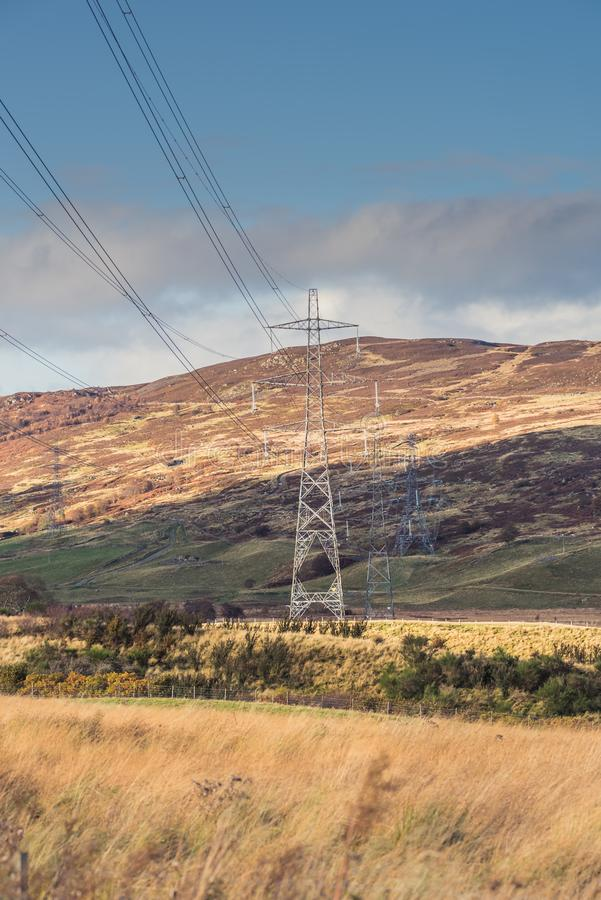 Electric power transmission steel tower with power lines in Perthshire, Scotland stock photography