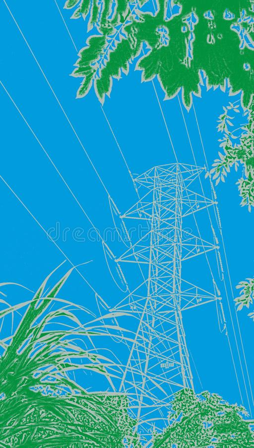 Electric power transmission tower artwork stock images
