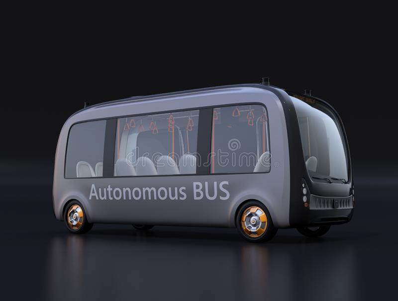 Electric powered self-driving shuttle bus on black background royalty free illustration