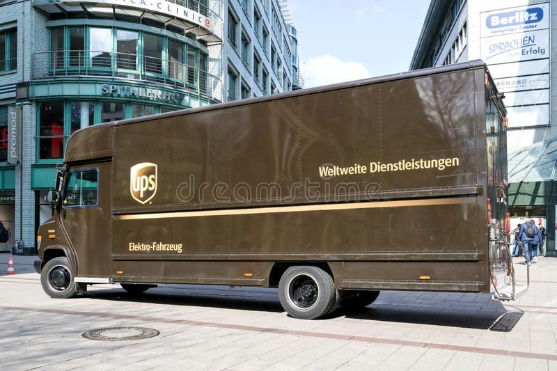 Electric powered UPS delivery van. UPS is the world`s largest package delivery company and a provider of supply chain management solutions stock images