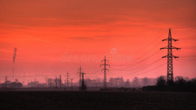 Download Electric Powerline In Evening Landscape Stock Image - Image: 32216777