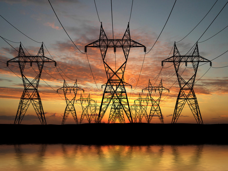 Electric powerlines royalty free stock photography