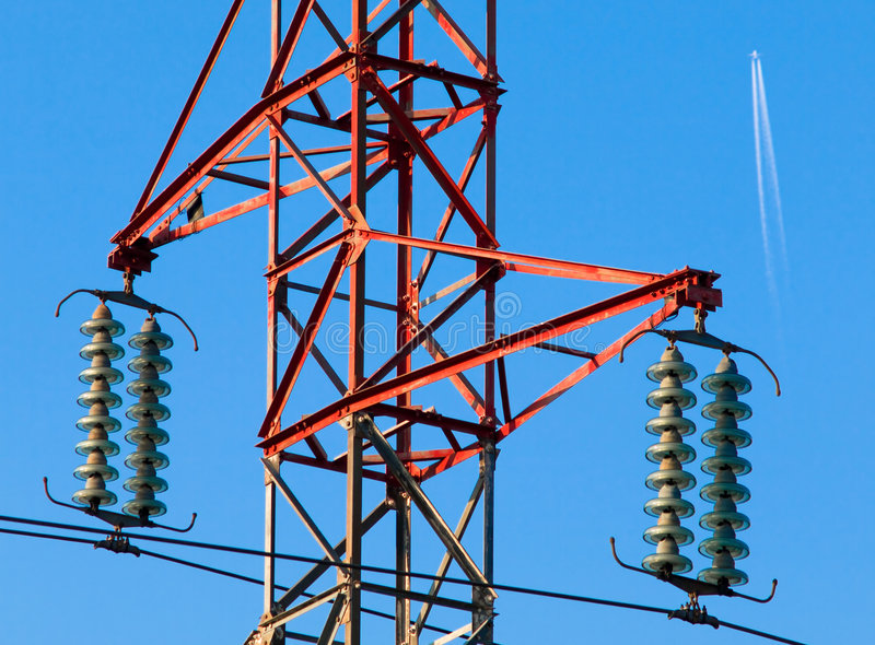 Electric powerlines stock photography
