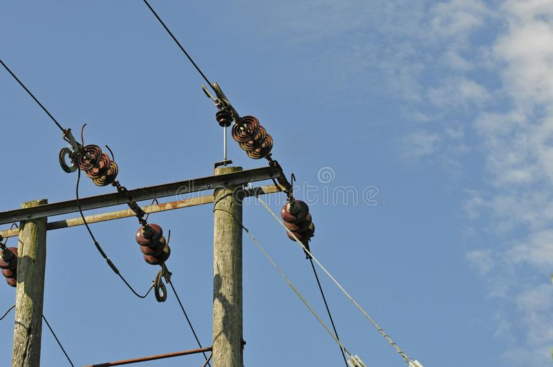 ELECTRICITY CABLE IN BLUE SKY royalty free stock photography