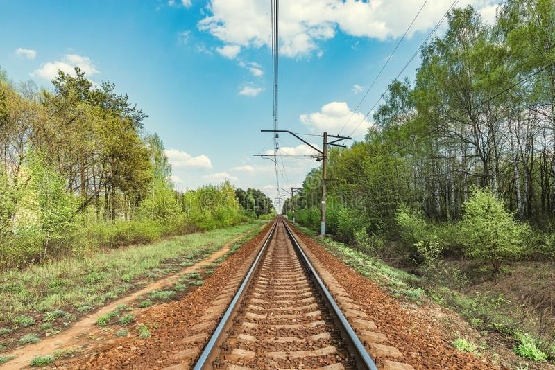 Electric railway line. Electric railway line at summer day time stock photos
