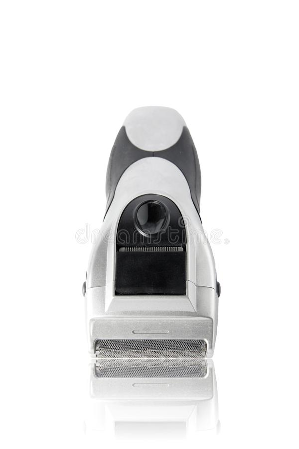 Electric razor. For shaving and hair dressing men, background, barber, bathroom, beard, blade, care, chrome, clean, clippers, close, cosmetics, cutting royalty free stock photos