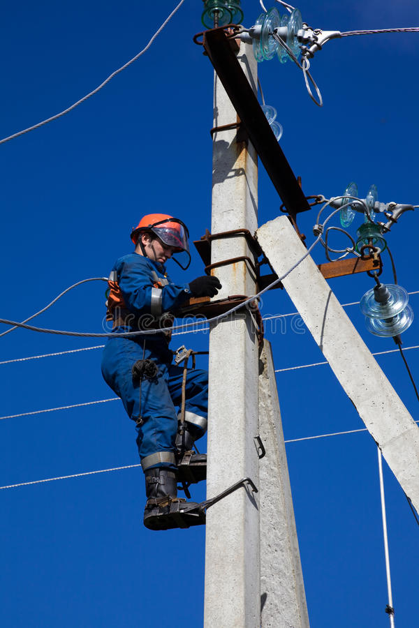 Download Electric Rises To Concrete Pole Stock Photo - Image of technology, electrician: 26795266