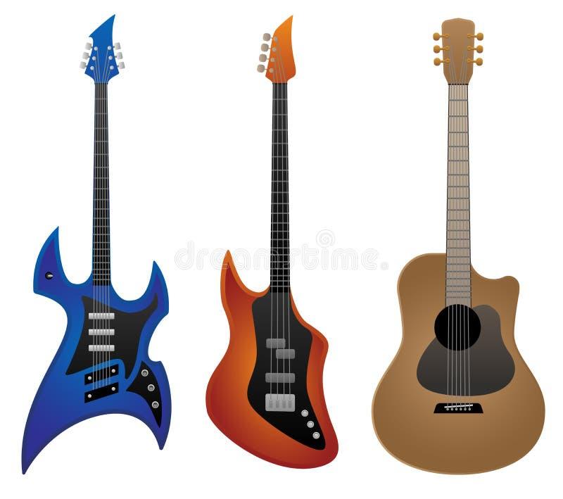 electric rock guitar bass guitar and acoustic guitar vector rh dreamstime com