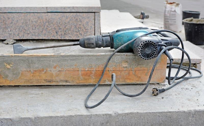 Electric rotary hammer drill bit stock photo
