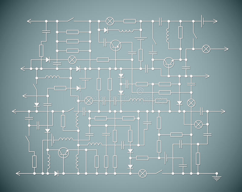 The electric scheme. Background with an electrical circuit scheme vector illustration