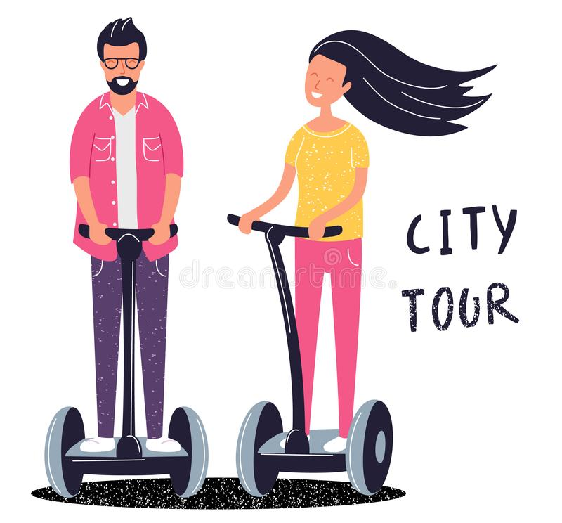Electric scooter city tour concept. Boy and girl use eco transport for traveling. Active leisure. Vector illustration. Cartoon flat funky style royalty free illustration
