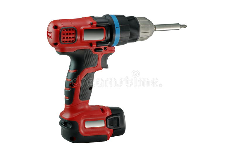Power tool. Electric screwdriver. White background. Power tool. Electric screwdriver on white background stock images