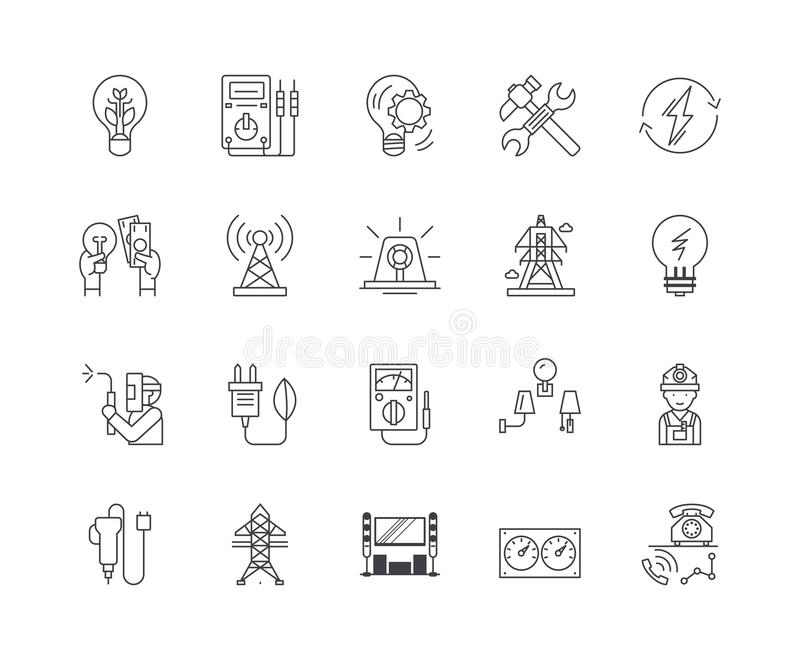Electric services line icons, signs, vector set, outline illustration concept vector illustration