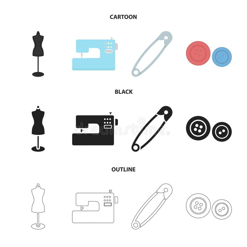 Electric sewing machine, dummy on the stand, pin, buttons.Atelier set collection icons in cartoon,black,outline style. Vector symbol stock illustration vector illustration