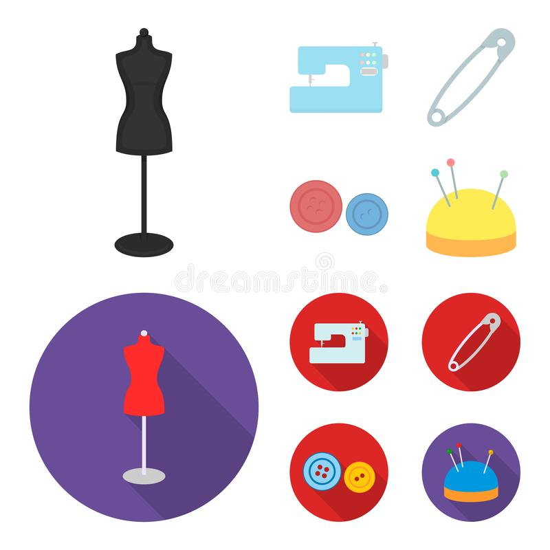 Electric sewing machine, dummy on the stand, pin, buttons.Atelier set collection icons in cartoon,flat style vector. Symbol stock illustration vector illustration