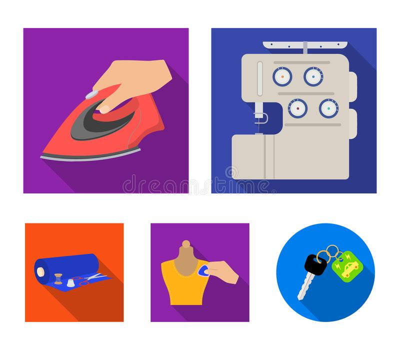 Electric sewing machine, iron for ironing, marking with chalk clothes, roll of fabric and other equipment. Sewing and. Equipment set collection icons in flat stock illustration