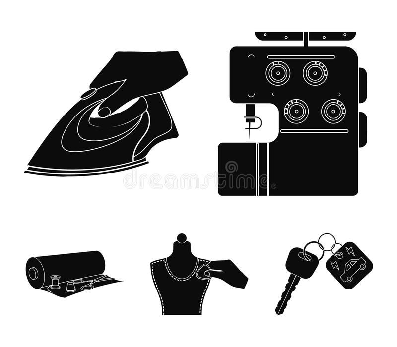 Electric sewing machine, iron for ironing, marking with chalk clothes, roll of fabric and other equipment. Sewing and. Equipment set collection icons in black royalty free illustration