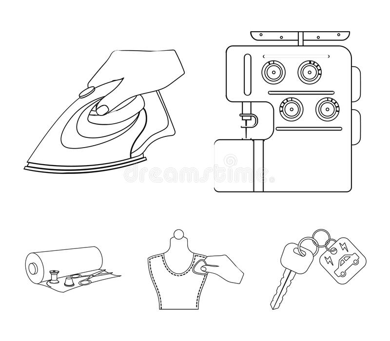Electric sewing machine, iron for ironing, marking with chalk clothes, roll of fabric and other equipment. Sewing and. Equipment set collection icons in outline vector illustration