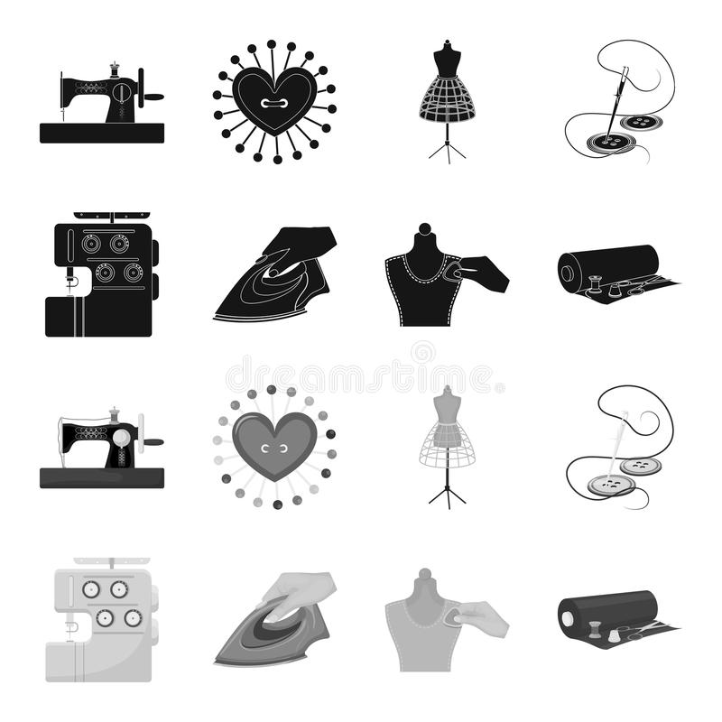Electric sewing machine, iron for ironing, marking with chalk clothes, roll of fabric and other equipment. Sewing and. Equipment set collection icons in black stock illustration