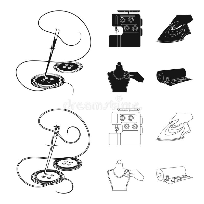 Electric sewing machine, iron for ironing, marking with chalk clothes, roll of fabric and other equipment. Sewing and. Equipment set collection icons in black vector illustration