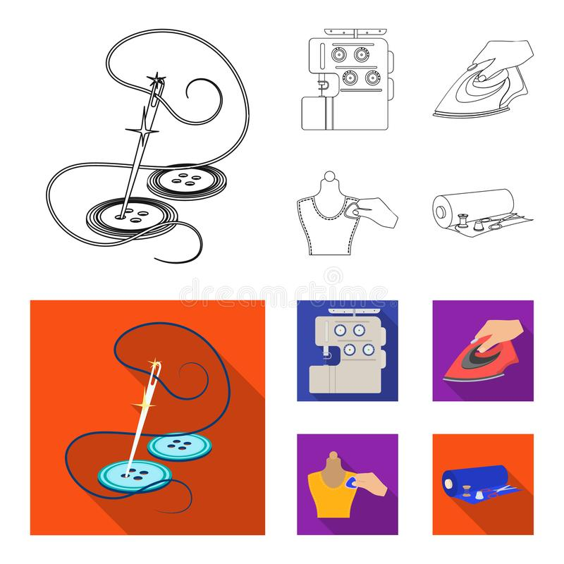 Electric sewing machine, iron for ironing, marking with chalk clothes, roll of fabric and other equipment. Sewing and. Equipment set collection icons in outline royalty free illustration