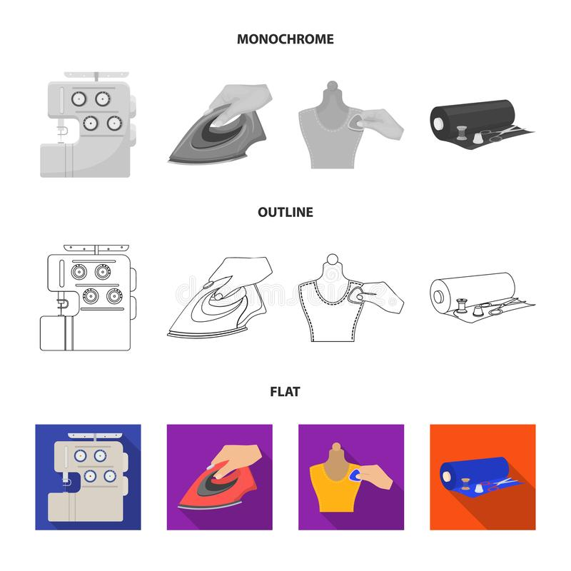 Electric sewing machine, iron for ironing, marking with chalk clothes, roll of fabric and other equipment. Sewing and. Equipment set collection icons in flat royalty free illustration