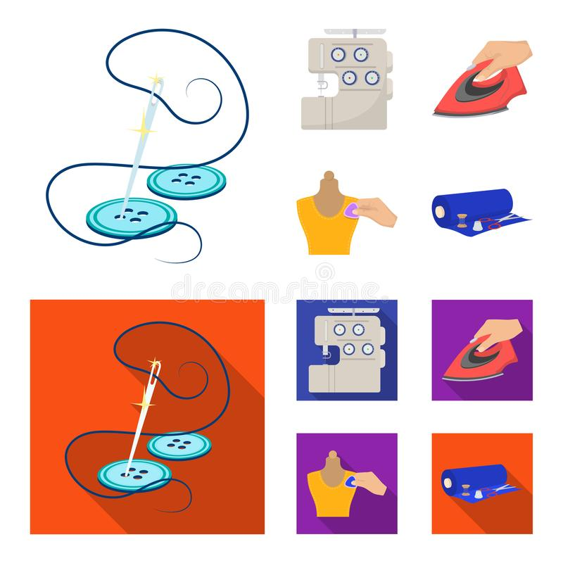 Electric sewing machine, iron for ironing, marking with chalk clothes, roll of fabric and other equipment. Sewing and. Equipment set collection icons in cartoon vector illustration