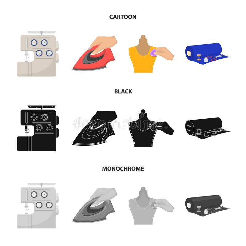 Electric sewing machine, iron for ironing, marking with chalk clothes, roll of fabric and other equipment. Sewing and. Equipment set collection icons in cartoon royalty free illustration
