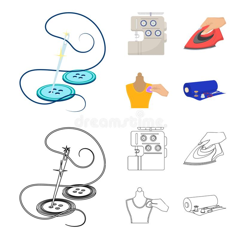 Electric sewing machine, iron for ironing, marking with chalk clothes, roll of fabric and other equipment. Sewing and. Equipment set collection icons in cartoon stock illustration