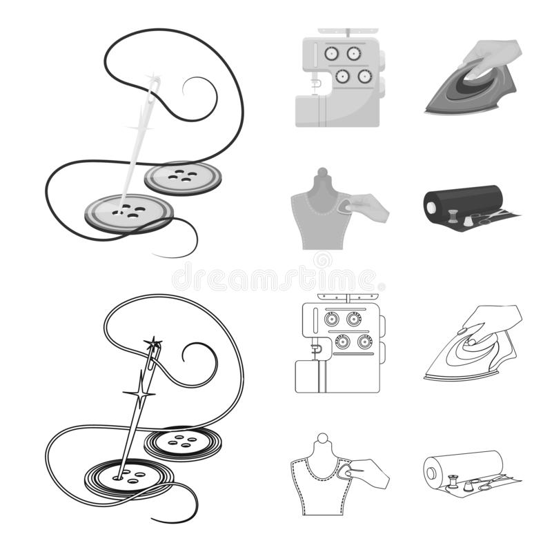 Electric sewing machine, iron for ironing, marking with chalk clothes, roll of fabric and other equipment. Sewing and. Equipment set collection icons in outline stock illustration