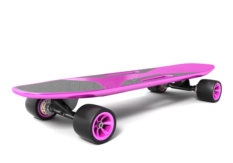 Electric skateboard on white. 3D illustration royalty free illustration