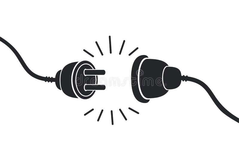 Electric socket with a plug. Connection and disconnection concept. Concept of 404 error connection. Electric plug. And outlet socket unplugged. Wire, cable of stock illustration