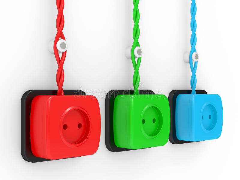 Electric Sockets Of Different Colour Stock Photo