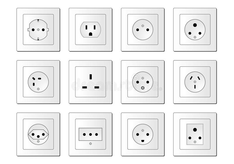 Electric sockets worldwide stock illustration