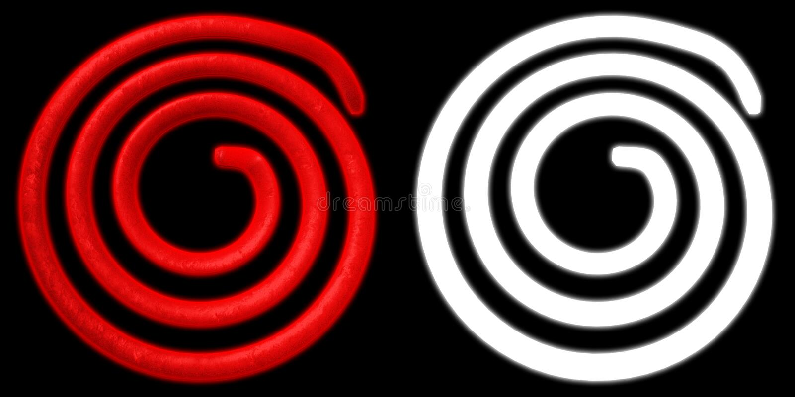 Electric spiral heated to a red. Heating coil element. with alpha channel. 3D illustration.  stock illustration