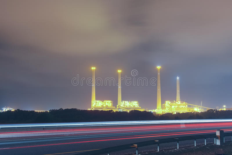 Electric station night view stock photo
