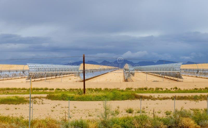 Electric station of solar water heating system on Arizona. Desert power generation regenerative reflection energy economy renewable sun electricity technology stock photos