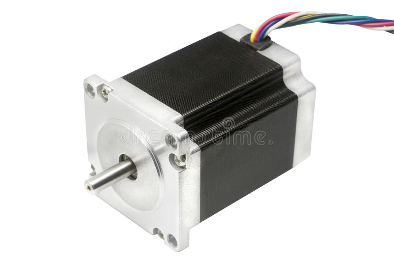 Electric stepper motor of CNC linear axis drive of 3D machine. CNC drive stepping stepper motor with NEMA standard flange, used for driving axes of CNC machines royalty free stock photo