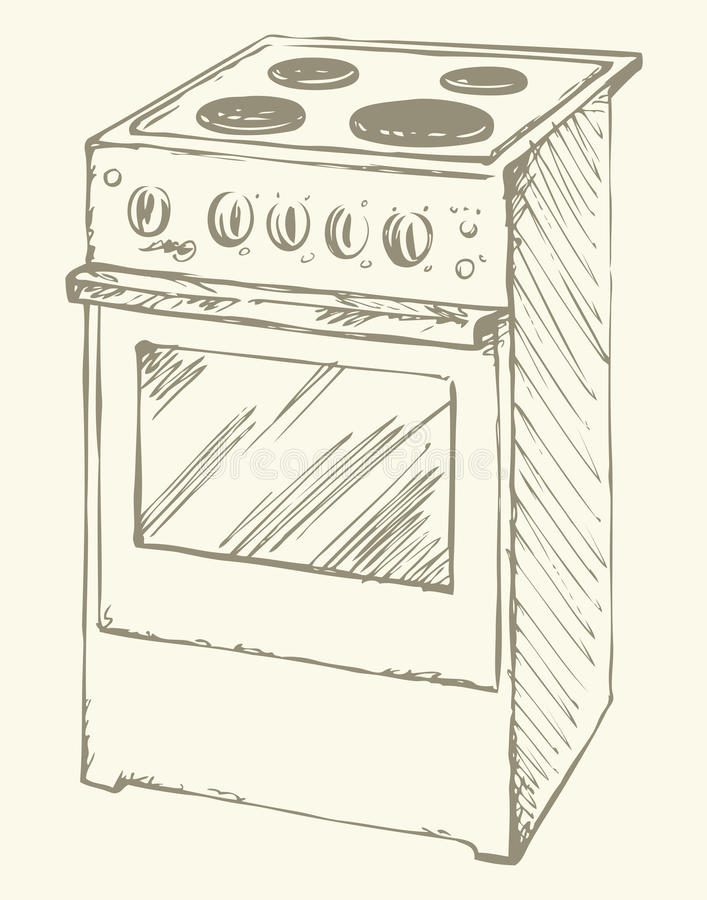 Electric stove. Vector drawing. Free standing hotplate with four hob plate and buttons on white. Vector linear freehand ink drawn background sketchy in art vector illustration