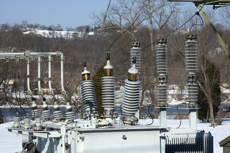 Electric substation detail royalty free stock photo