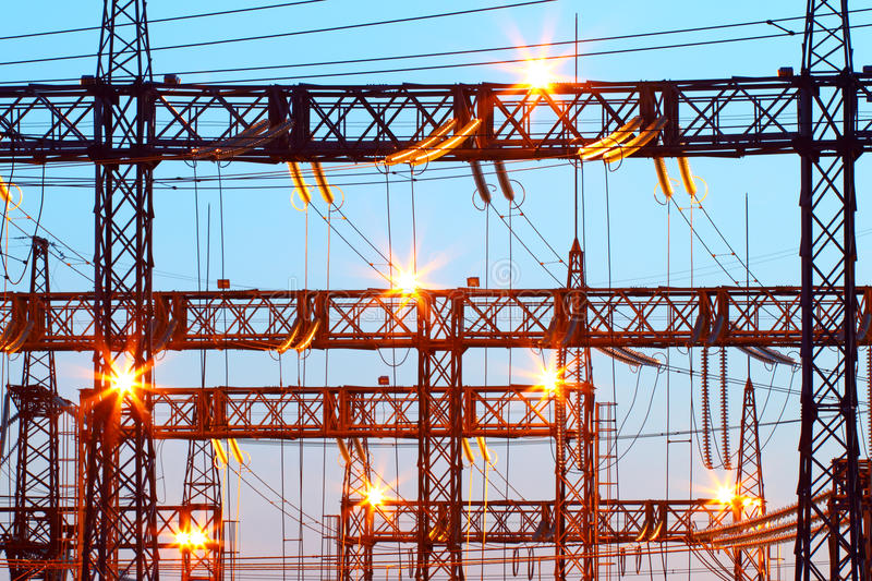 Electric substation in night-time lighting royalty free stock image