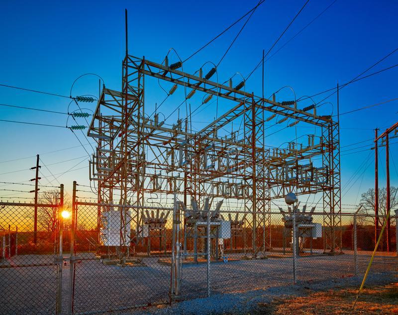 Electric Substation at Sunset royalty free stock photos