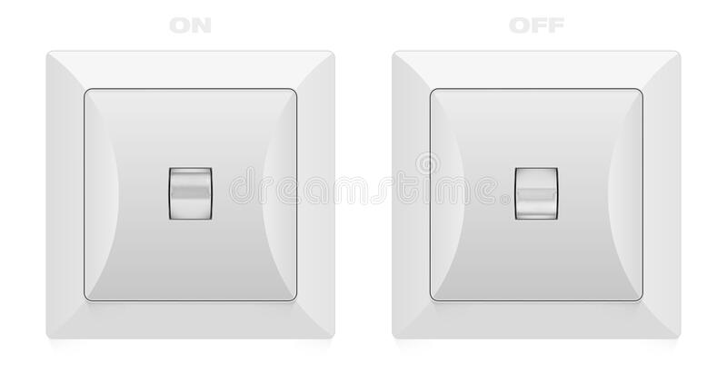 Electric switch in ON and OFF position. Isolated on white background. Vector illustration royalty free illustration