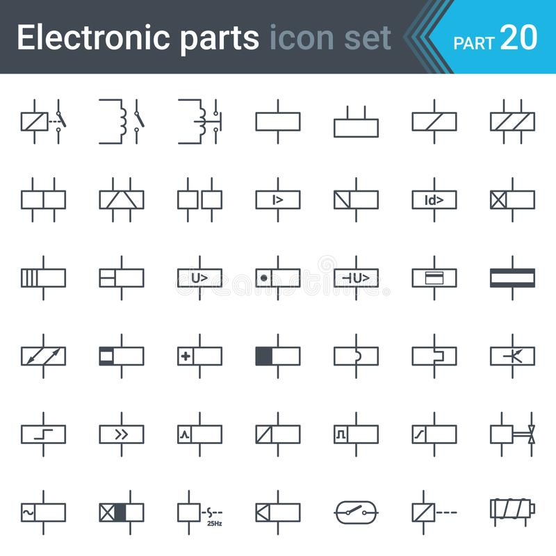 Electric Symbols Set Of Relays And Electromagnets Stock Vector ...