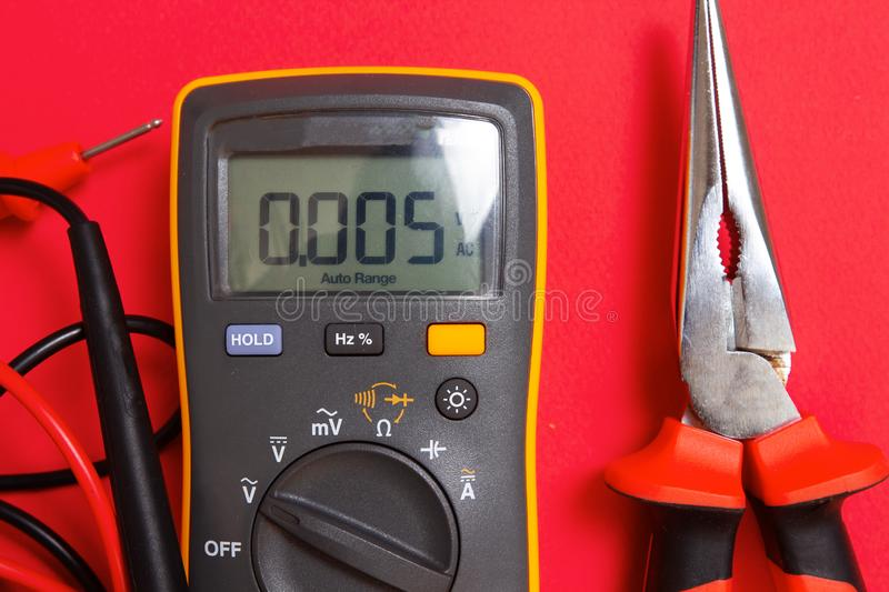 Electric tools for electrician works royalty free stock photography