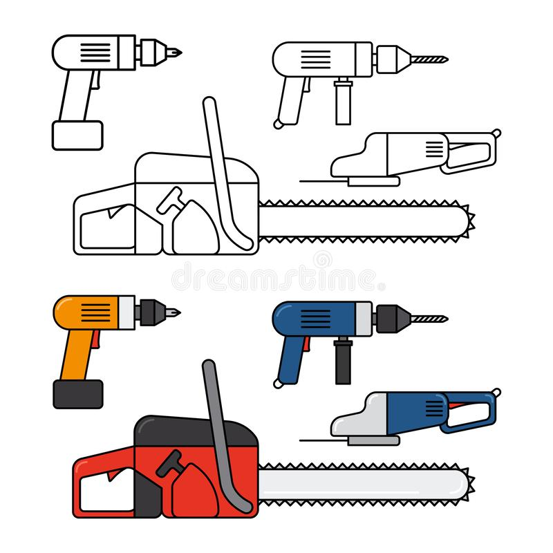Electric tools for home repair - chainsaw, drill, jigsaw vector line icons set vector illustration